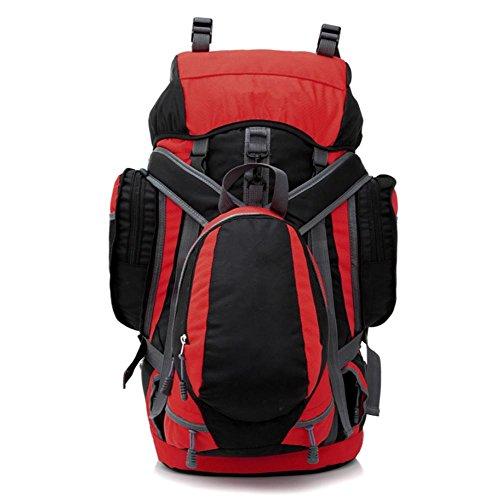 Xiuxiandianju 55L - 75L outdoor wandern camping Wandern Tasche Damen und Herren Rucksack Tasche Red