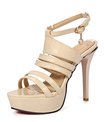 YE Frauen Peeptoes Schuhe High Heels Plateau Stiletto Lackleder Knöchelriemen Pumps Sommer Fashion Elegante Party sandaletten Beige1