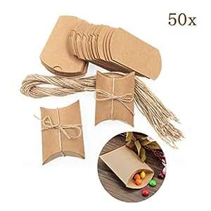 Jeerui 50 Marrone shabby scatola portaconfetti con Sacchetto di Carta Kraft Mini Busta spago iuta rustico matrimonio compleanno Natale festa laurea (Papier kraft)