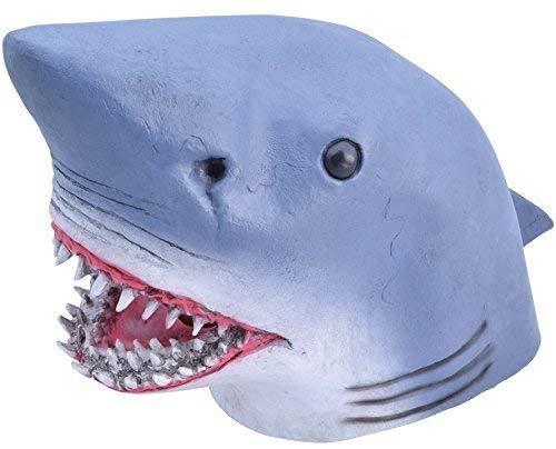 Fancy Me Erwachsene Damen Herren Gummi das Gesicht Bedeckend Maske Tier Halloween Kostüm Kleid Outfit Zubehör - Shark (Shark Kleid Für Erwachsene Kostüm)