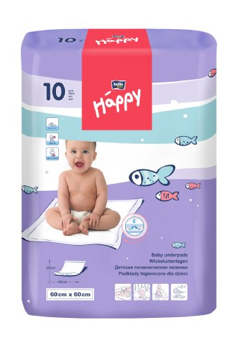 Bella Baby Happy Wickelunterlagen 60 x 60 cm, 4er Pack (4 x 10 Stück)