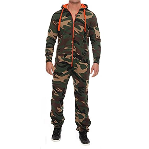96V45 Hype Inc Unisex Damen Herren Jumpsuit Overall Camo Orange Zipper M