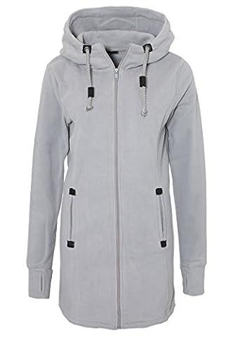 SUBLEVEL Damen Micro Fleece Mantel   Lange Fleece-Jacke mit Kapuze   Warme Übergangsjacke light-grey
