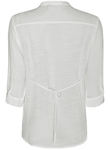 oodji Collection Femme Tunique Col en V Blanc (1200N)