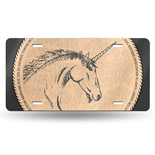 Ganheuze Silhouette of A Unicorn Black and Beige 612inchs Feel Metal Tin Sign Plaque for Home,Bathroom and Bar Wall Decor Car Vehicle License Plate Souvenir Car Decoration -