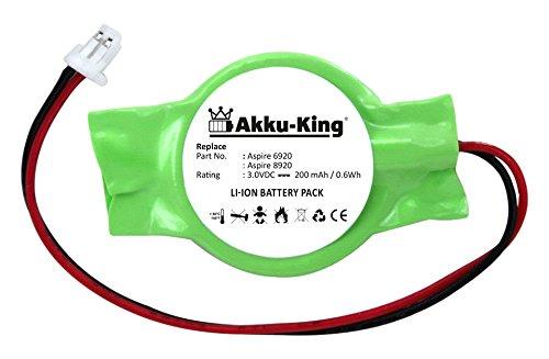 Acer-cmos-batterie (Akku-King Backup, CMOS Knopfzelle mit Stecker für Acer Aspire 6920, 6920G, 8920 - Li-Ion 200mAh)