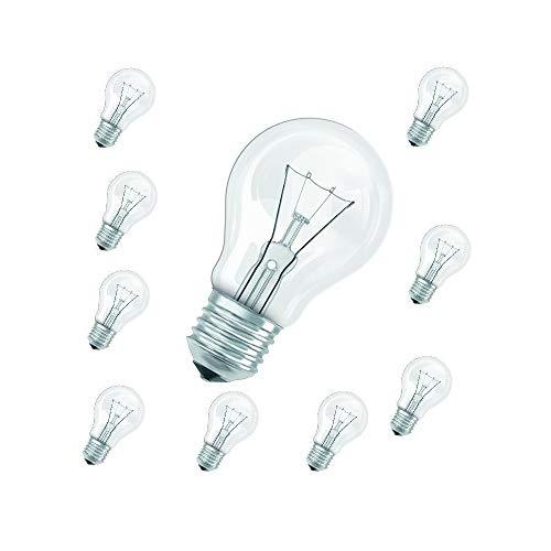 Glühbirnen 60W klar Classic im 10er Pack | Leuchtmittel E27 | 10x Glühlampen A60 230V