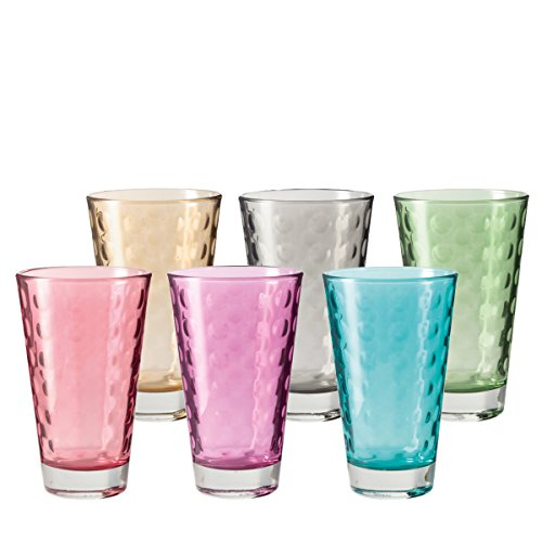 Leonardo Optic Set de 6 Grands Verres Couleurs Assorties 047283, Verre, Multicolore, 8 x 8 x 13 cm 6 unités