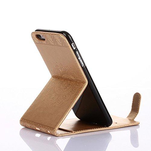 Cover iphone 6 /iphone 6s Hülle,Fodlon® Totem Geprägt Up-Down öffnen PU-Leder Flip Stand mit Schwarz Lanyard Hülle Abdeckung zum iphone 6 /iphone 6s-Purple Gold