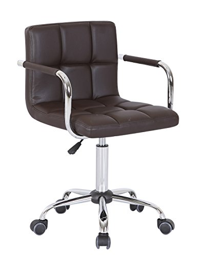 HNNHOME Swivel PU Leather Office Furnitue Computer Desk Office Chair Brown