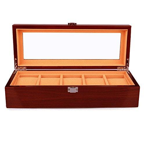 Uhrenbox Holz 5 Slots Uhrengehäuse Schmuck Display Aufbewahrungsboxen mit Glas Top und Removal Storage Kissen Braun