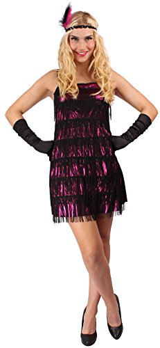 Tänzerin Kostüm pink-schwarz für Damen | 44/46 | 2-teiliges Charleston Kostüm | Tanzkleid Faschingskostüm für Frauen | Charleston Kleid für Karneval