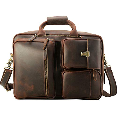 (XDDQB Laptop Rucksack Computer Rucksack,Business Rucksack Schulrucksack Daypack Reiserucksack FüR MäNner Und Frauen,Leder Herren GroßE Aktentasche/17 Zoll)