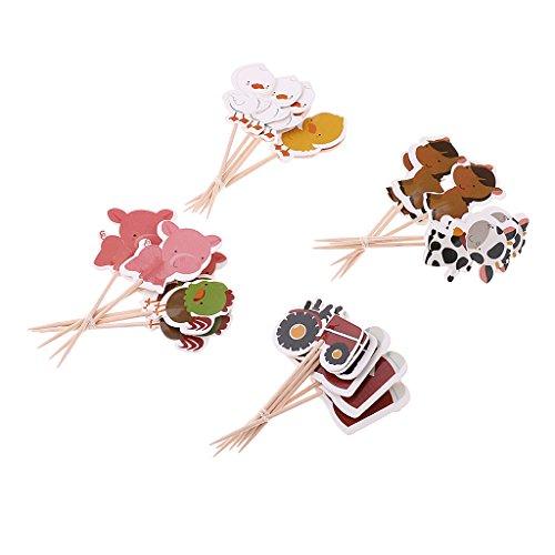 fsatz Kuchen Topper Cupcake Topper Tortenstecker Muffin Zahnstocher mit Bauernhof Tier Design ()