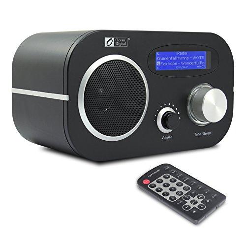 Ocean Digital Internet Radio WR80 FM / Wi-Fi WLAN y LAN Ethernet Reproductor de música con mando a distancia - Negro