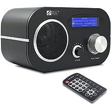 Ocean Digital Radio de Internet WR80 Sintonizador FM Conexión Wi-Fi y Ethernet Música Media Player Radio de Cocina Control Remoto - Negro
