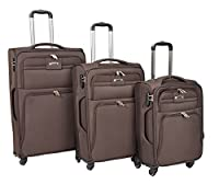 Set of 3 Soft Suitcases 4 Wheel Travel Luggage Lightweight Cabin Bags H910 Brown