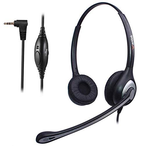 2,5mm Telefon Headset Dual mit Noise Cancelling Mikrofon, Lautstärkeregler, WANTEK Festnetztelefone Kopfhörer für Siemens Gigaset Panasonic Grandstream Polycom Schnurlostelefon(602J25D)