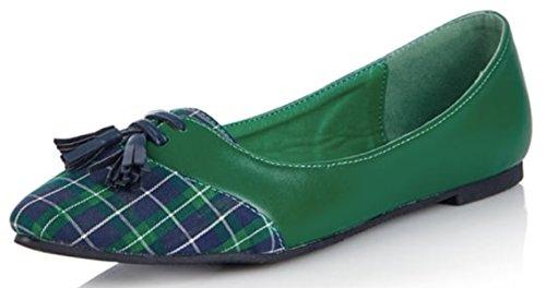 Lulu Hun Damen Ballerina Marge Vintage Plaid Karo Tassel Pointed Toe Flats -