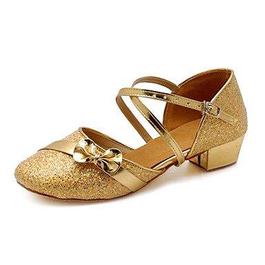 Silence @ enfants Chaussures de danse moderne Paillettes Chunky Talon Argenté/doré Silver