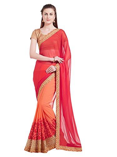 SareeShop Women\'s Silk & Georgette saree for women latest design 2018 with Blouse Piece (5111-SAREESHOP15#Red # Free Size)