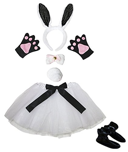 d Bowtie Schwanz Handschuhe Rock Schuhe 6pc Mädchen-Kostüm Einheitsgröße Weiß Schwarz-Häschen ()