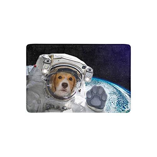 LVOE TTL Funny Puppy Dog Astronaut im Weltraum Fußmatte Anti-Rutsch-Eingangsmatte Boden Teppich Indoor/Outdoor/Haustürmatte Home Decor, Gummi-Träger 23,6 X 15,8 Zoll