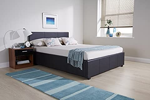 Ottoman Bed with Storage Four Mattress Options - All Size (4ft6 Double No Mattress, Black)
