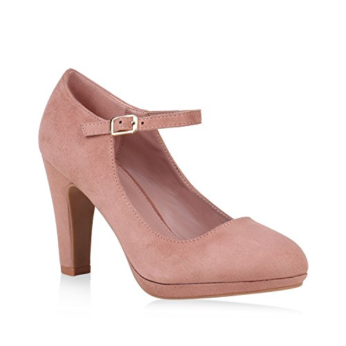 Damen Pumps Mary Janes Veloursleder-Optik High Heels Blockabsatz 153164 Rosa 40 Flandell Damen Mary Jane Pumps