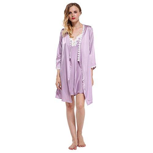 QYYDSY Marke Volle Hülse Frauen Robe & Kleid Sets Lace Floral Satin Frauen Pyjamas Sets Nachthemd + Bademantel Homewear XL Lavendel Set (Lace Lavender Kleid)