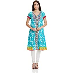 Rangriti Women's Flared Kurta (INDIAN P4225_Turquoise_32)