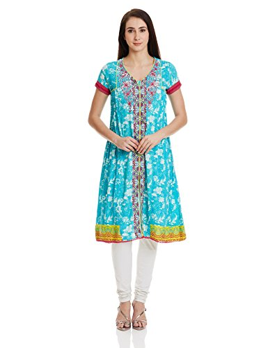 Rangriti Women's Flared Kurta (INDIAN P4225_Turquoise_38)