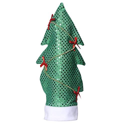 (TOUYOUIOPNG Mode Christams Dekoration Pailletten Weihnachtsbaum Form Weinflasche Abdeckung Taschen Cap Candy Geschenkverpackung Home Party Tisch Bar Decor)