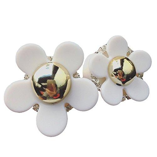 YLLY Creative Gänseblümchen Air Outlet duftende Parfüm Clip Lufterfrischer Diffusor, Legierung, Weiß/goldfarben, 4x4cm