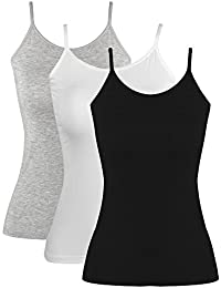 2b569c76e6605 Blulu Women Camisole Basic Camis Tanks Stretch Cami With Adjustable Straps