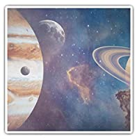 Awesome Square Stickers (Set of 2) 7.5cm - Planets Jupiter Saturn Solar System Fun Decals for Laptops,Tablets,Luggage,Scrap Booking,Fridges,Cool Gift #16783