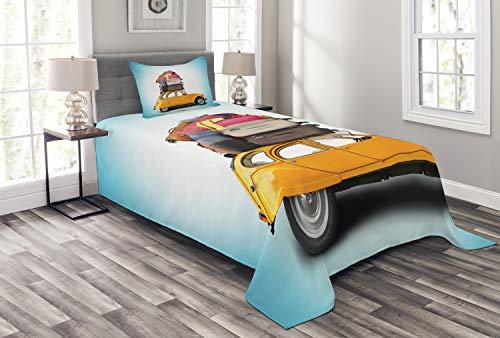 ABAKUHAUS Reise Tagesdecke Set, Altes Auto mit Gepäck, Set mit Kissenbezügen Sommerdecke, für Einselbetten 170 x 220 cm, Mehrfarbig -