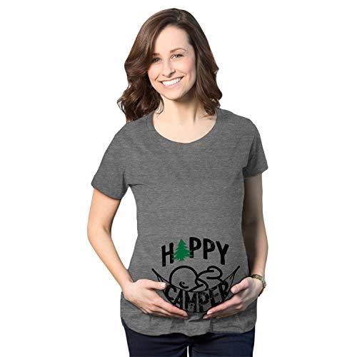 Crazy Dog Tshirts - Maternity Happy Camper Tshirt Cute Pregnancy Cool Outdoors Baby Bump Tee (Heather Grey) - XL - Damen - XL -