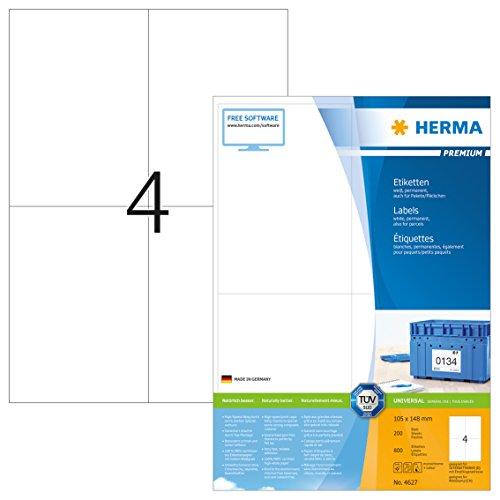 Herma 4627 Universal Etiketten (DIN A6 Format 105 x 148 mm) weiß, 800 Aufkleber, 200 Blatt A4 Premium Papier matt, bedruckbar, selbstklebend