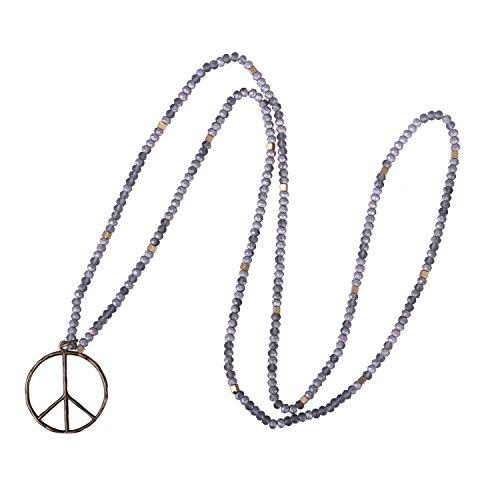 KELITCH Klassischer Frieden Zeichen Liebe Hippie Anhänger aus Mattem Kristall Perlen Halskette (Grau) Grau Bib