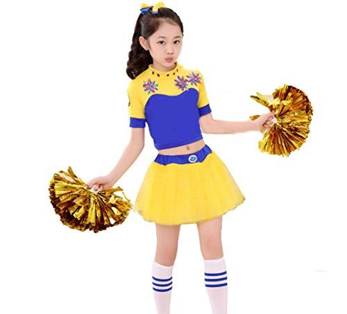 Kinder Aerobic Kostüm - SMACO Cheerleading Performance-Bekleidung FüR Kinder Cheerleading-KostüMe FüR Kinder MäNnliche Und Weibliche Aerobic-GymnastiktanzkostüMe,100CM