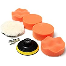 MAXGOODS Set Esponja de Pulido Encerado Pulidoras Espuma con Adaptador de Taladro para Lijado de Coches Color Naranja Pad Kit Compuesto Car Polish