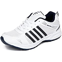 Asian shoes Men's Sports Shoe White Navy Blue Mesh 9 UK/Indian