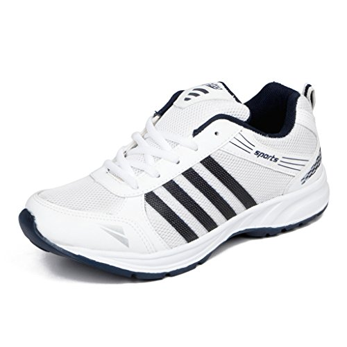 Asian Shoes Wonder 13 White Navy Blue Men's Sports Shoes 9 UK/Indian