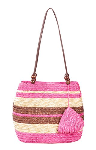 K.B. Barrow, Borsa tote donna Taglia unica Pink, Brown & Straw Stripe
