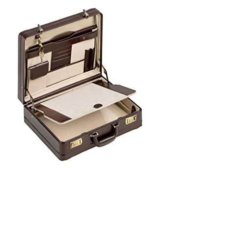 REAL LEATHER DOUBLE EXPANDABLE ATTACHE-CASE IN DARK BROWN COLOUR 28309