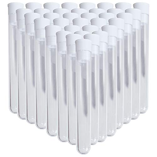(Kurtzy 200 durchsichtige Plastik Röhrchen Reagenzgläser Perlen Aufbewahrungs Behälter mit Deckeln, Durchsichtige Aufbewahrungsdosen mit Deckel für Perlen, Schmuck Aufbewahrung 75 x 10mm - Leere Test Röhrchen Perlen Aufbewahrung)
