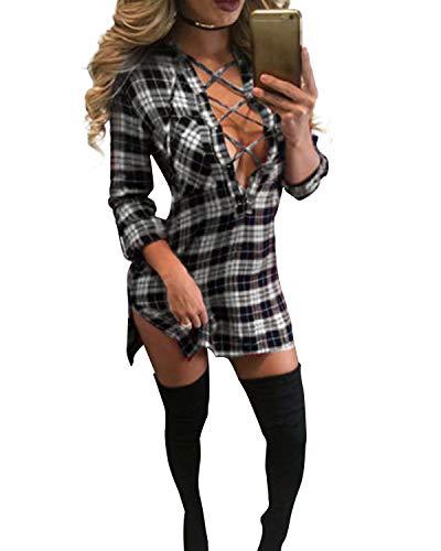 Auxo Damen V-Ausschnitt Karierte Langarm Slim Oversize Langshirt Mini Kurz Kleider Weiß & Schwarz EU 36/Etikettgröße S