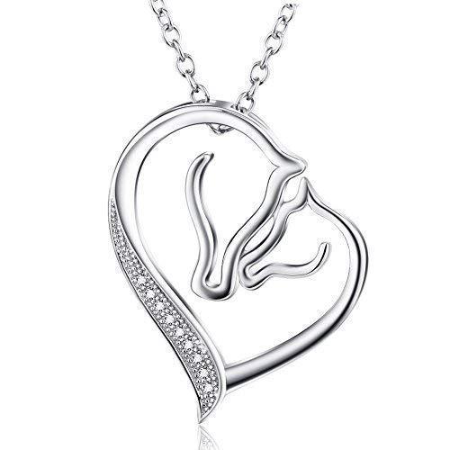 """Sterling Silber Herz Halskette Pferd Anhänger Zirkonia Halskette mit Rolo Kette 18\"""" (Pferd -1)"""