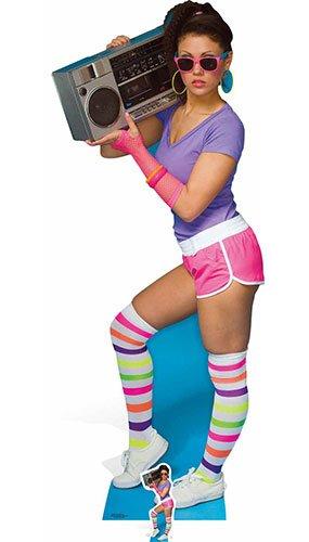 n 80's Neon Boom Box Girl Karton Ausschnitt, Mehrfarbig ()